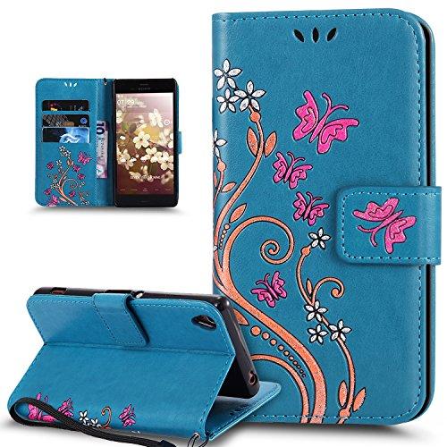 Coque Sony Xperia X Performance,Peint coloré Embosser Papillon fleur Housse en Cuir PU Etui Housse Portefeuille de Protection Flip Case Portefeuille Etui Coque pour Sony Xperia X Performance,Bleu