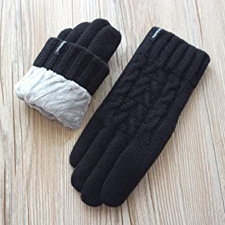 Cashmere Gloves Ladies Pure Wool Cashmere Wool Knit Warm Double Layer Plus Velvet Thick Touch Screen Gloves Gaozs (Color : Black)