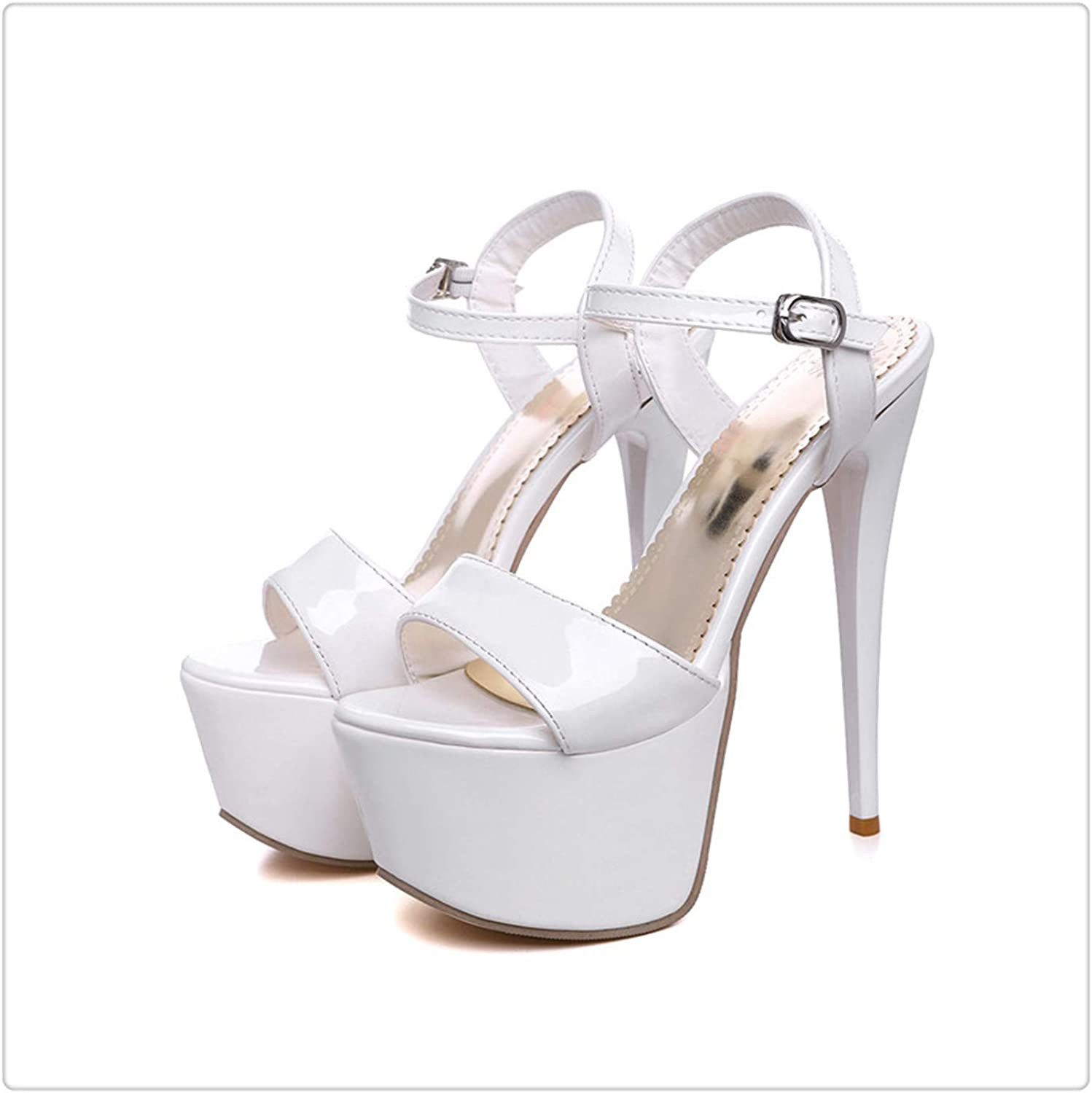 AAKOPE& Hot 2019 Summer Gladiator Sandals Women Brand Design PU Leather Women Sandal Fashion High Heels Ladies Party Wedding shoes White 4.5