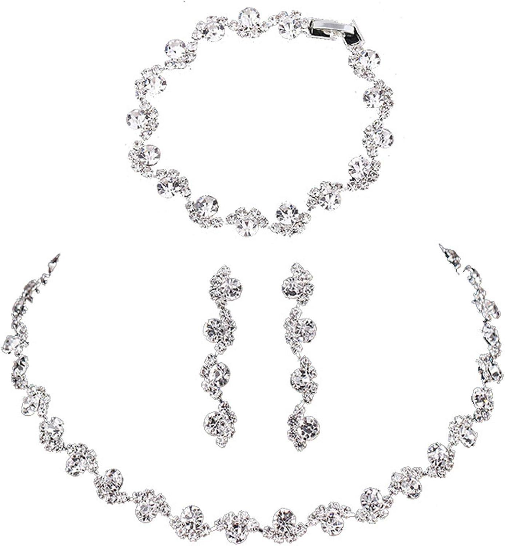 Crystal Bead Choker Necklace Drop Dangle Earrings Bracelet for Women Girl Shiny Rhinestone Statement Bridesmaid Bridal Jewelry Set Wedding Engagement Jewelry