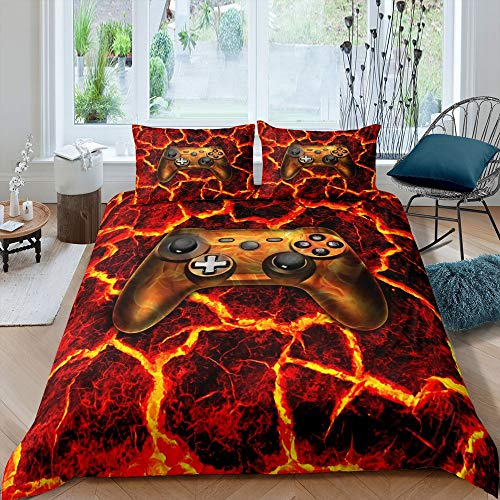 Modern Gamer Bedding Set, Video Games Duvet Cover For Kids Boys Teens Gamepad Player Gaming Comforter Cover Double Size Golden Flame Abstract Bedspread Cover 3 Pcs With 2 Pillow Cases