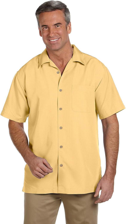 Harriton Men's Barbados Textured Camp Shirt