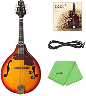 Adjustable 8-String Electric A Style Mandolin Rosewood Fingerboard String Instrument with Cable Strings Cleaning Cloth
