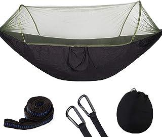 Hamaca para Acampar, Hamaca para Acampar Grande con mosquitera, hamacas paracaídas Dobles portátiles Negro S