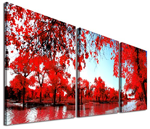 Mon Kunst - Stampa artistica su tela, motivo: alberi rossi, stile moderno, Black, 40cmx40cmx3 UnFramed