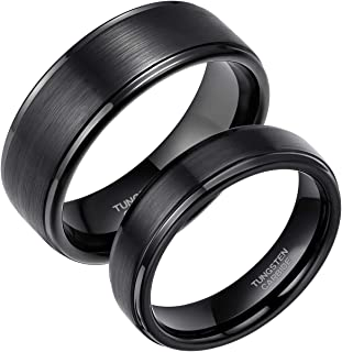 6mm 8mm Black Tungsten Rings for Men Women Brushed Wedding Bands Ring Matte Finished Comfort Fit Size 4-15