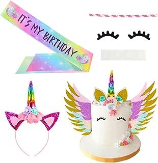 Basumee Unicorn Cake Topper Set Rainbow Color with Eyelashes Wings Party Sash Headband for Unicorn Theme Party Wedding and Birthday Party Decoration