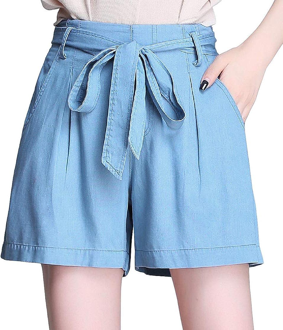 CHARTOU Women's Summer High Waist Wide-Leg Tencel Bow Tie Denim Shorts