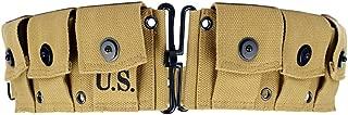 Oleader WW2 U.S. Army M1923 M1 Garand Rifle Cartridge Belt WWII Ammunition Bullet Belt Khaki Canvas (6 Pouches)