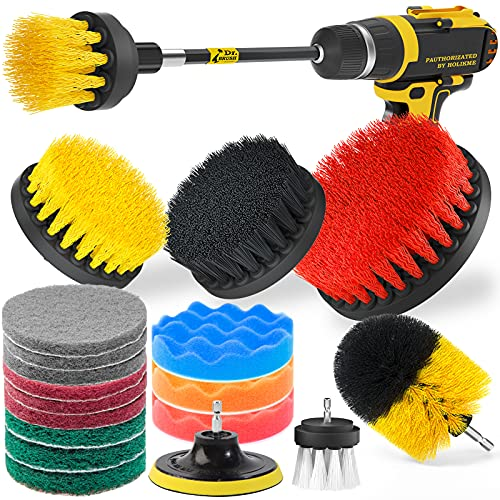 Holikme Drill 15 Piece Brush Attachments Set, Scrub Pads & Sponge,Buffing Pads, Power Scrubber Brush with Extend Long Attachment, Car Polishing Pad Kit