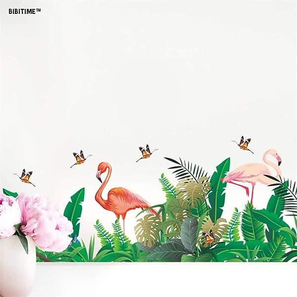 BIBITIME Flamingo Wall Border Stickers Peel Stick Decals Tropical Leaves Birds Butterflies Wall Decal Sticker For Living Room Porch Nursery Bedroom Children Kids Rooms Decor Home Art Murals