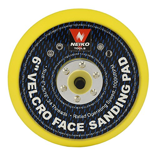 "NEIKO 30263A 6"" Hook and Loop Sanding Pad | 5/16"" Arbor with 24 Thread Mounts | 10,000 RPM | Ideal for Random Orbital Sanders"
