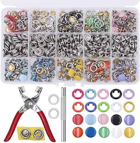VieVogue 200 sets de botones de presión con alicates de fijación, juego de botones de presión, anillo de metal, botones de presión para ropa infantil de bebé, 9,5 mm, 10 colores