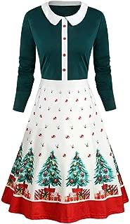 Women's Casual Long Sleeve Round Neck Christmas Print Zipper Mini Dress Party Dress (S-2XL)