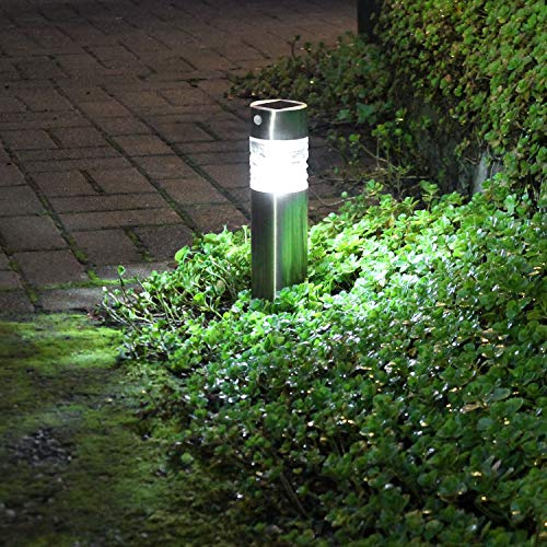 Edelstahl LED Solarlampe mit Erdspieß, Bewegungssensor, Leuchtkörper aus Glas, H43cm Solarleuchten Gartenlampe Gartenleuchte Wegeleuchte Außenbeleuchtung