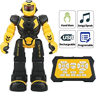 Sikaye Remote Control Robot for Kids Intelligent Programmable Robot with Infrared Controller Toys,Dancing,Singing, LED Eyes,Gesture Sensing Robot Kit for Childrens Entertainment (Black/Yellow)