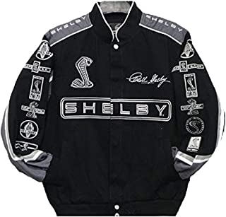 Carroll Shelby Cobra Collage Mens Black Twill Jacket by JH Design