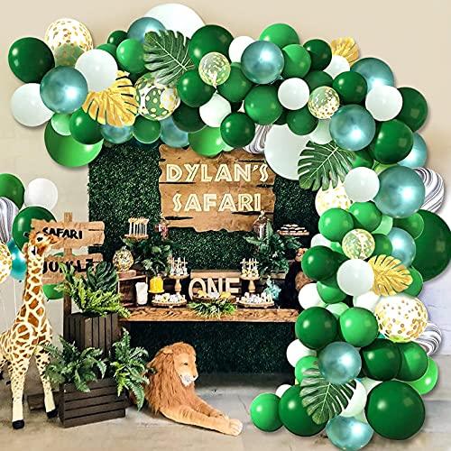 Grüner Ballon Bogen Kit, Tinte Green Metallic Green Konfetti Latex Ballons, Palmblätter für Babyparty, Geburtstag, Hochzeit, Tropical Party, Dschungel Safari Thema Hintergrund Party Dekorationen