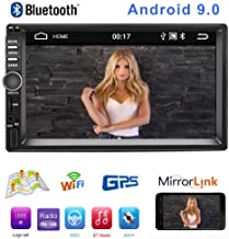 """Android 9.0 Double Din Car Radio MP5 Player, 7""""HD Touch Screen Car Stereo Receiver, Support GPS Navigation Bluetooth&Android iOS Mirror Link Dual USB Input&Sub-woofer+4LED Lights Backup Camera"""