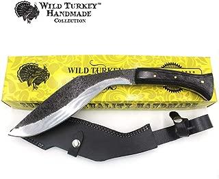 Wild Turkey Handmade 15.25'' Fixed Blade Kukri Hunting Knife w/Leather Sheath