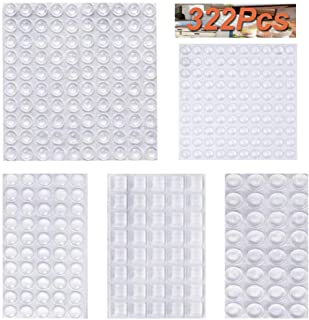 Best 322Pcs Cabinet Door Bumpers,Self Adhesive Clear Rubber Bumpers Pads,Noise Dampening Buffer Pads - 5 Sizes Review