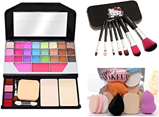 Women's and Girl's TYA 6155 Multicolour Makeup Kit and 7 Black Makeup Brushes Set with Storage Box, 6 Beauty Blender Spong...