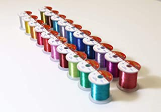 Hitena Rod Wrapping Thread - Metallic Vivid 20 Color 100yd Pack Winding Thread. Assortment of 20 Most Popular Colors in Metallic Vivid (Regular Single Color) Threads