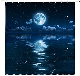 AMFD Moon Shower Curtain Ocean Decor Magical Super Moon Over Ocean Surface Midnight View Dreamy Mystic Bathroom Curtains Polyester Fabric Waterproof 70 x 70 Inches Include Hooks Navy Black