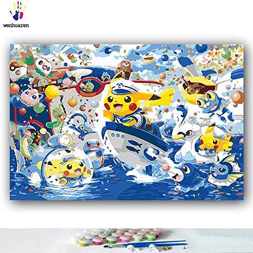 Malen nach Zahlen Kits Ölgemälde für Kinder, Studenten, Erwachsene, Anfänger mit Pinsel und Acryl-Pigment – Pokémon Japanische Anime Pikachu Animierte Figur 16x20 with frame 6956