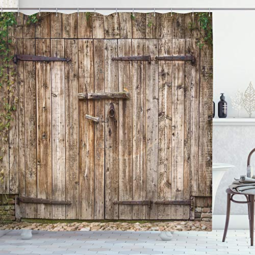 """Ambesonne Rustic Shower Curtain, Old Oak Closed Garage Door with Steel Hinges Vintage Typical Cottage Doorway Image, Cloth Fabric Bathroom Decor Set with Hooks, 70"""" Long, Tortilla"""