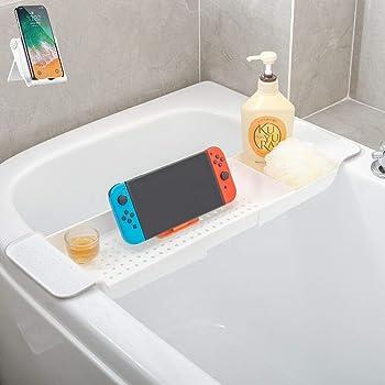 バスタブトレー バスタブラック 浴室用ラック バステーブル バスラック 伸縮式 ズレ防止 大容量 水切り お風呂用品 (白)贈り物 スマホスタンド