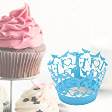 TOYANDONA 50pcs Wrappers Laser Cut Lovely Loving Heart Pattern Creative Delicate Cupcake Wrapper Cups Liner for Baking Home Wedding Birthday Party Decoration 50pcs Blue