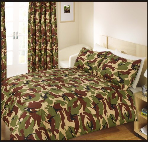 Ashley Mills Army Camouflage Military Style Duvet Cover Single Bed Set - Green