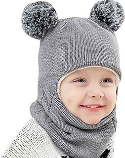 Little Kid Winter Warm Hat,Jchen(TM) Kid Baby Boy Girl Hooded Scarf Caps Hat Winter Warm Knit Flap Cap Scarf Hairball Cap for 2-7 Years Old (Gray)