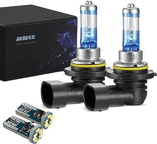 AUHDER 9006 HB4 12V 55W Halogen Headlight Bulb Upgrade Vision High Performance 2 Bulbs(Contains 2 PCS Super Bright Error Free T10/194 Auto LED Bulbs)