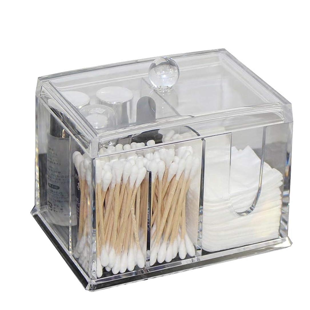 ライバルスタジオ一般的に言えばFrcolor 綿棒ケース コットンケース 棉棒ボックス コットン入れ 綿棒入れ コスメケース 小物収納 アクリル製 蓋付き 防塵 透明 卓上収納