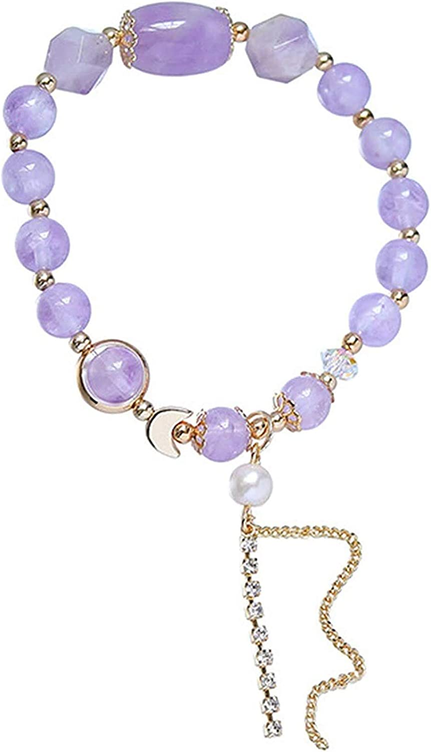 Plztou Feng Shui Ranking TOP1 Bracelet Natural Pearl Crystal Purple Jade Moon Super beauty product restock quality top