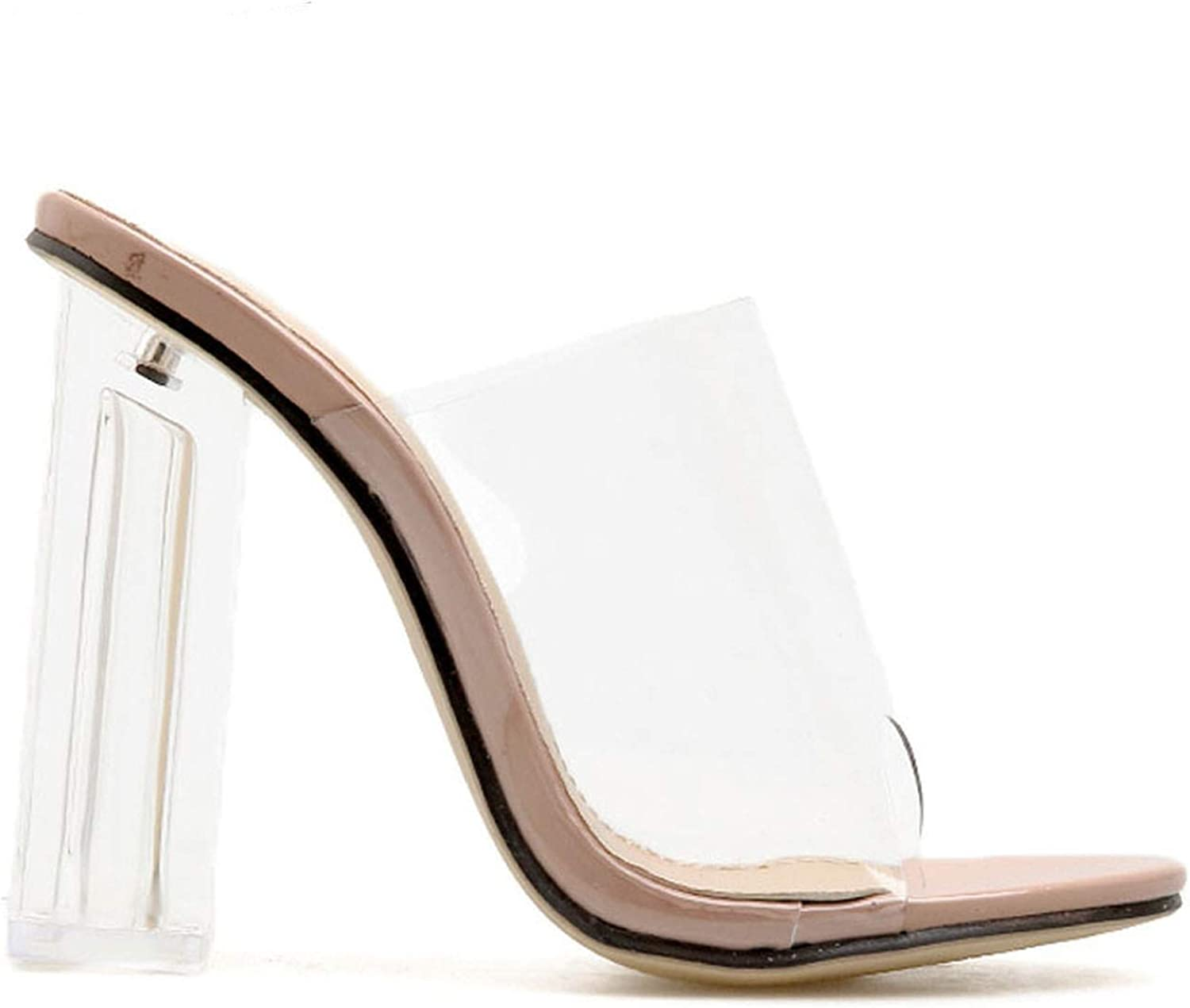 JIESENGTOO Transparent Sandals Women High Heels Summer Party shoes PVC Slip On Square Heels