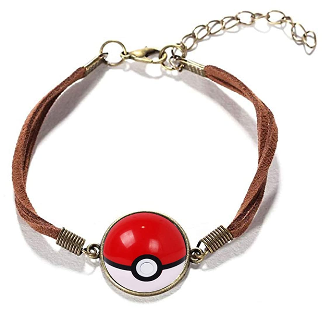Crafting Easy Pokeball Leather Cord Bracelet with Copper Bezel Tray Glass Cabochon for Jewelry Making Adjustable Rope Wristband