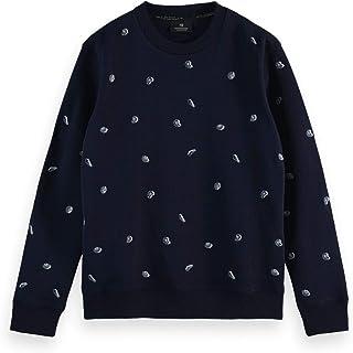 Scotch & Soda Men's All-Over Embroidered Crewneck Sweat Sweatshirt