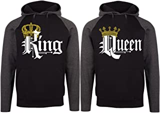 SR Couple Matching King Queen Crown Two Tone Raglan Hoodie Pullover Hooded Sweatshirt