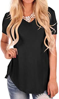 Women's Short Sleeve V-Neck Loose Casual Tee T-Shirt Tops