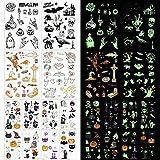 165× Halloween Luminoso Tatuajes Temporales para Niños, mexicano niños tattoos Día de los Muertos Esqueleto cráneo Tatuajes Pegatinas para Infantiles Fiesta de cumpleaños Regalo