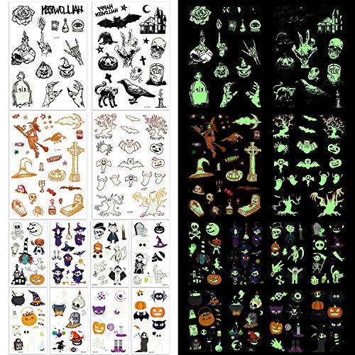 165× Halloween Tatuaggi Temporanei Glitter Tattoos impermeabili per bambini e adulti, Halloween Cosplay decorazioni