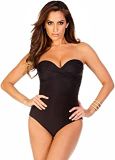 7b2bb545c8 Miraclesuit Women's Swimwear Solid Barcelona Sweetheart Bandeau Tummy  Control One Piece Swimsuit with Detachable Straps