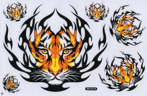 DD Tiger Flammen Sticker Aufkleber Folie 1 Blatt 270 mm x 180 mm Wetterfest