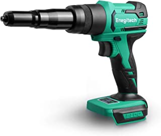 Enegitech Rivet Gun, 18V Lithium-ion Automatic Cordless Blind Rivet Tool Electric Riveter with Variable Nose Pieces for 3/32