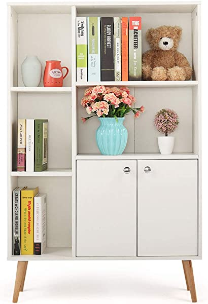 JAXPETY 3 Tier Bookcase Storage Floor Cabinet 5 Storage Organizers With 2 Door Shelves And 4 Foots