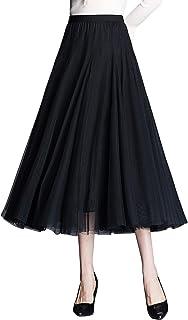 ANIMQUE Falda de Tul Midi Elegante Falda Plisada Cintura Alta Elástica Tejido Drapeado 78cm de Largo