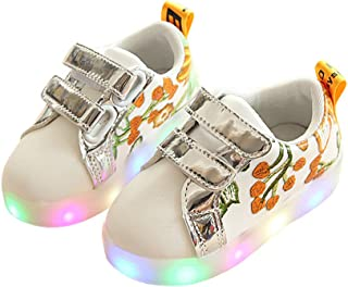 Toddler Kids Children Baby Striped Shoes LED Light up Luminous Sneakers
